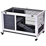 Pawhut Portable Indoor Wooden Rabbit Hutch Guinea Pigs House Bunny Small Animal Cage Openable Roof Enclosed Run 90 x 53 x 59 cm