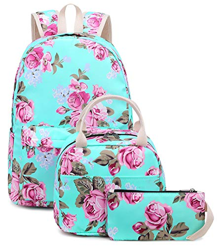 Bookbag Girls School Backpack Cute Floral Schoolbag Laptop Insulater Lunchbox and Pouch Daypack for Teen Girls Boys Rose Flower