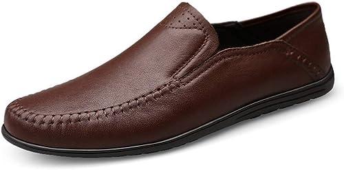 Chaussures bateau décontractées décontractées et confortables Mocassins de loisir for hommes for hommes, bouts ronds, chaussures de type Penny plates en cuir véritable, mocassins légers en cuir antidérapants for ba  acheter 100% de qualité authentique