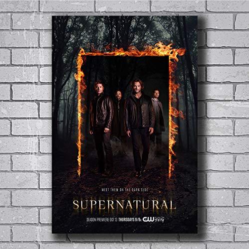 Zahuishile Carteles e Impresiones Supernatural 12 Season USA TV Show Series Art Poster Canvas Painting Home Decor 40X60Cm sin Marco