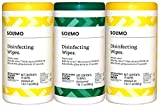 Amazon Brand - Solimo Disinfecting Wipes, Lemon Scent & Fresh Scent, Sanitizes/Cleans/Disinfects/Deodorizes, 75 Count (Pack of 3)