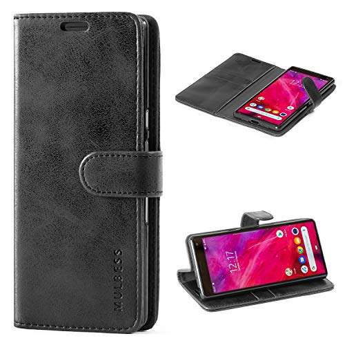 Mulbess Handyhülle für Sony Xperia 10 Hülle, Leder Flip Case Schutzhülle für Sony Xperia 10 Tasche, Schwarz