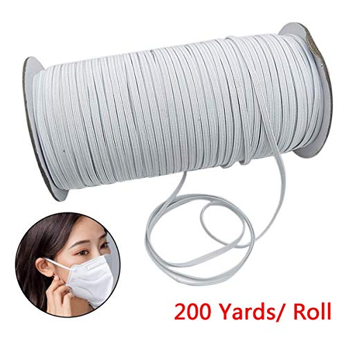 3mm Earloop Cord Elastic Strap 1//8-Inch Stretchy Comfortable Ear Tie Rope Handmade String for Sewing DIY White