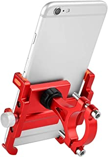 Amaae Bicycle Phone Mount Holder Rack Aluminum Alloy for MTB Bike Motorcycle(Color:Red & Material:Aluminum alloy)