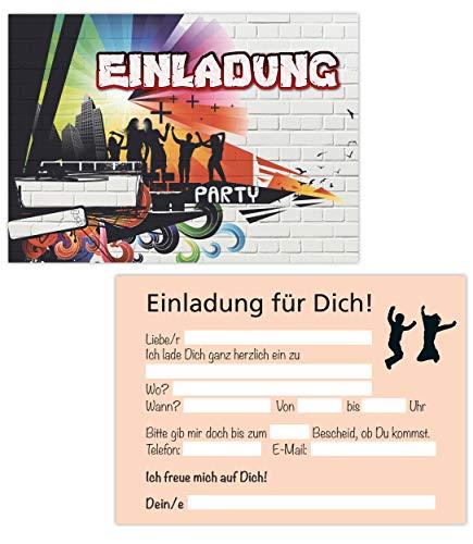 15er Kartenset Einladungskarten Geburtstag, Kindergeburtstag, Geburtstagseinladungen Graffiti, Teenager, Party-Einladungen (15 Karten Graffiti)