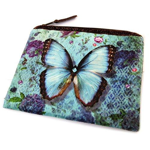 Les Trésors De Lily [N8546] - Trousse à Maquillage 'Papillon Imaginaire' Bleu - 19x16 cm