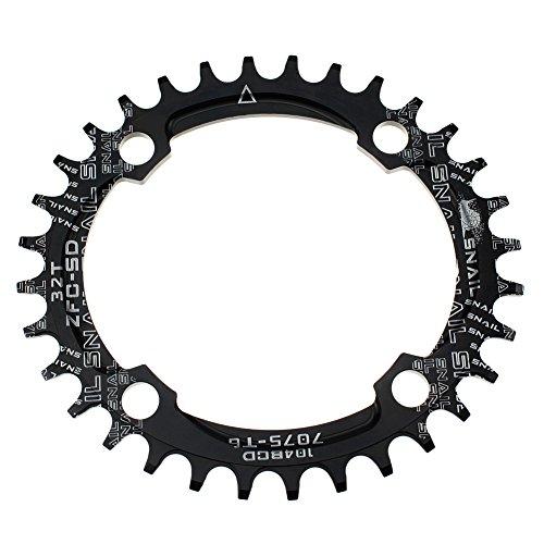 FOMTOR Oval Kettenblatt 32Z Ultralight Single schmal Breite Kette Ring für die meisten Fahrrad Road Bike Mountain Bike BMX MTB Fixie Track Helden Fahrrad (104BCD, schwarz)
