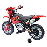 Aosom 6V Electric Kids Ride-On Motorcycle Powered Dirt Bike Battery Scooter with Training