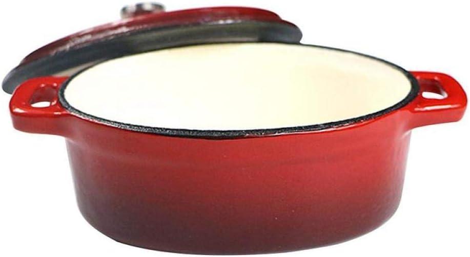 LIUSHI Fours hollandais en Fonte émaillée avec Couvercle Mini Pot Ovale en céramique pour plaques électriques et Rouge Flamme Red