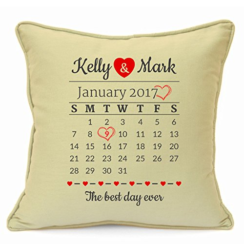 Personalised Presents Gifts For Him Her Husband Wife Couples Boyfriend Girlfriend First Ruby Silver Wedding Anniversary Valentines Day Christmas Xmas Calendar Date Cushion Cover 18 Inch 45 Cm Decor