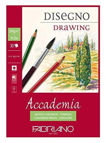 Honsell 41202129 - Fabriano Accademia Disegno, DIN A4, 200 g/m², 30 Blatt, weiß, hochwertiges, radierfestes Zeichenpapier, säure- und ligninfrei, für viele Maltechniken geeignet