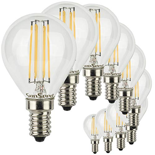 SunSeed® 10x Glühfaden LED Golfball-Lampe E14 6W ersetzt 60W Warmweiß 2700K