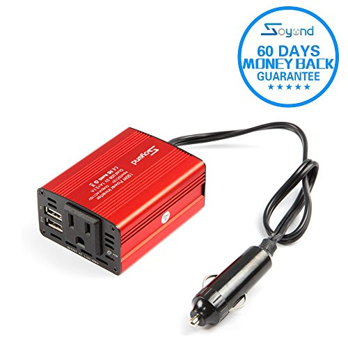 soyond 1 Red 150W Car Power Inverter DC 12V to 110V AC Converter 3.1A Dual USB Charger