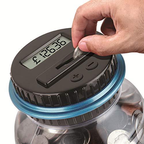 Daxerg digitale spaarvarken muntenbesparing teller LCD dat geld glazen wisselfles telt.