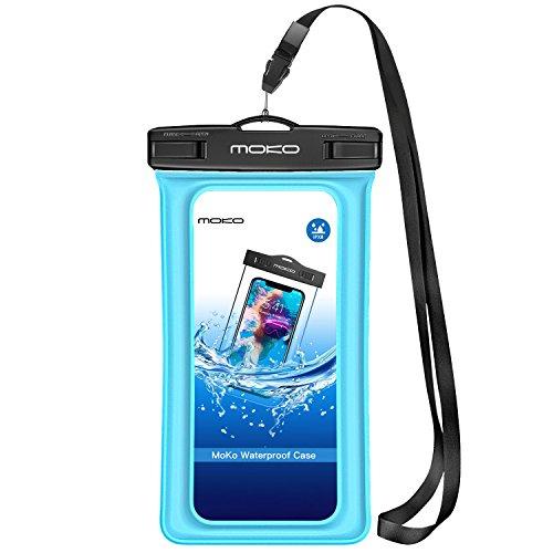 MoKo wasserdichte Hülle Tasche Outdoor Schutzhülle IPX8 Beachbag Schwimmend Fuktion für Apple iPhone 11 11 Pro 7 6 6S 5SE 7 Plus, Samsung Galaxy S5 S6 S7 Edge J5 A5, 4-5.7 Zoll Handy, Himmelblau