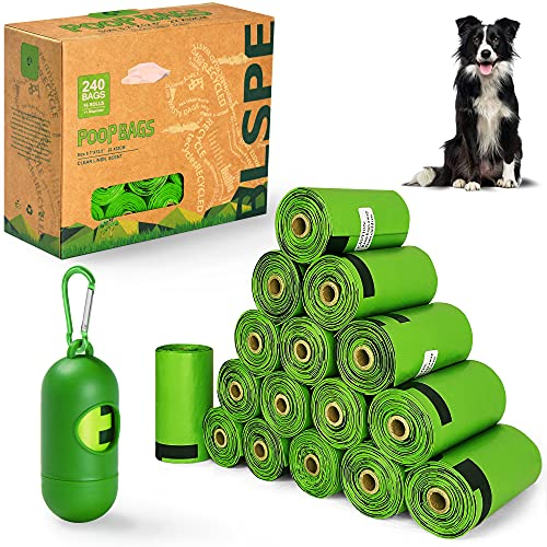 BLSPE Dog Poop Bags Pet Dog Supplies 240 Bag 16 Rolls With Dispenser and Waste Dog Poop Bag Leash Clip for Doggie Cats Puppy Biodegradable Extra Thick Large Leak Proof Environment Friendly Poo Bags
