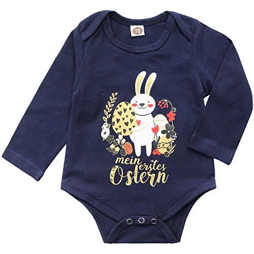 AGQT Baby Jungen Ostern Strampler Baby Bunny Ei Bodysuit Mein erstes Ostern Kleinkind Bodysuit Outfit Blau 6-12 Monate