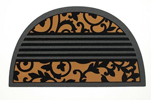 De'Carpet Felpudo Entrada Casa Original Moderno Flocado Flores Enredadera Media Luna 40x70
