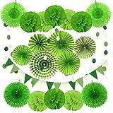 Zerodeco Decorazione di Festa, 21 Pezzi Ventilatori di Carta, Pompons, Bandierine Triangolare, Ghirlande per Decorazione Della Festa Nuziale Nozze Nidi Tatuaggi Nuziale Doccia Decorazione (Verde)