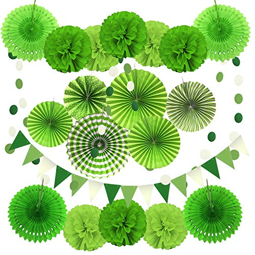 ZERODECO Party Decoration, 21 Pcs Green Hanging Paper Fans, Pom Poms Flowers, Garlands String Polka Dot and Triangle Bunting Flags for Golf Party Dinosaur Birthday Parties Arbor Day