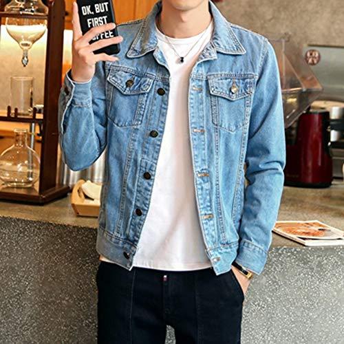 YTWSKCXP Frühling Herbst Herren Jeansjacke Mens Trendy Fashion Bomber Dünne Ripped Jeansjacke Männliche Cowboy Jeans Jacken 4XL Hellblau, M
