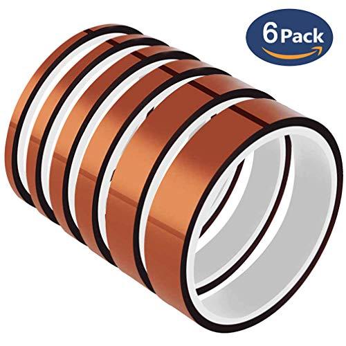 6 Rollen 10 m Hochtemperatur-Bänder – YTBUBOR Polyimid-Film-Klebeband, Mehrbreite 0,4/0,6/0,8/1/1,2/2 cm, gut geeignet für Masken, Löten, Pulverbeschichtung, Bedrucken von PCB Board und Verpackung.