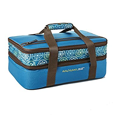 Rachael Ray Expandable Lasagna Lugger, Double Casserole Carrier for Potluck Parties, Picnics, Tailgates - Fits two 9 x13  Casserole Dishes, Marine Blue Floral Medallion