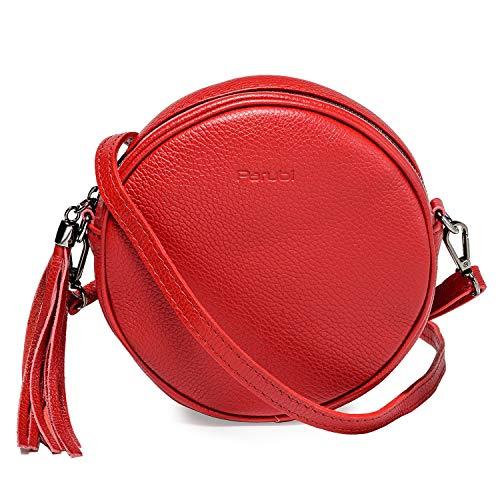 Parubi, schoudertas voor dames, echt Dollar-littekenleer, Made in Italy, model Dora, kleine handtas met franjes, pochette met schouderriem, clutch voor dames meisjes elegant