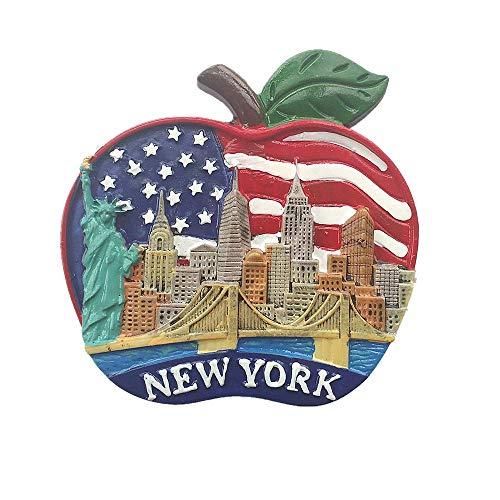 Kühlschrankmagnet in Apfelform New York USA 3D für Zuhause und Küche
