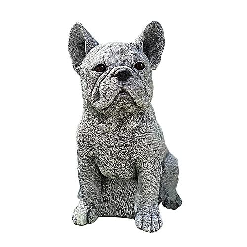 Garden Statue,French Bulldog ,Resin,Gray,Outdoor Statues