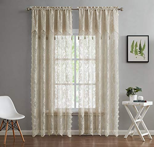 """LinenZone - English Rose Design - Lace Semi Sheer Voile Curtain Panels - Rod Pocket with Attached Valance and 6 Tassels Drapes - Set of 2 Total Width 108 inch (2 Panels 54"""" W x 63"""" L Each, Linen)"""