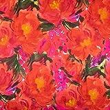 Tela de viscosa, acuarela, flores, naranja, precio por 0,5 metros