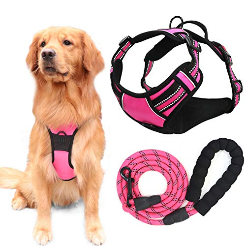 YIMEIS Dog Harness and 5 FT Leash Set, No Pull Adjustable Pet Harness with Easy Control Handle, Reflective Oxford Dog Vest for Extra Large Dogs Walking Training (XL, Pink)