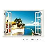 Adesivo da Parete Poster 3D Finestra sul Oceano Paesaggio 60x90cm Rimovibile...