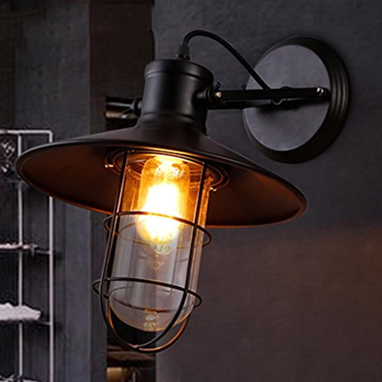 MFFACAI Nordic Retro Industrial Style Wandleuchte Schmiedeeisen Single Head Wandleuchte Restaurant Bar Loft Balkon Dekoriert Lampen, Licht E27  1, Gre 27  30 cm
