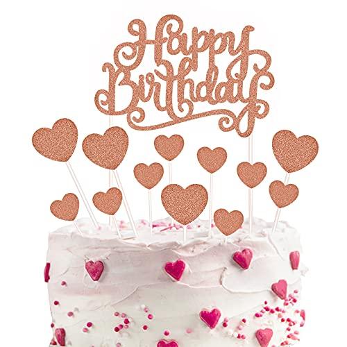Decoración para Tarta de Oro Rosa, Topper Feliz Cumpleaños,Corazones Cake Cupcake Topper, para Boda, Aniversario, Fiesta de Cumpleaños, Decoración del Hogar, Etc (14 Piezas)