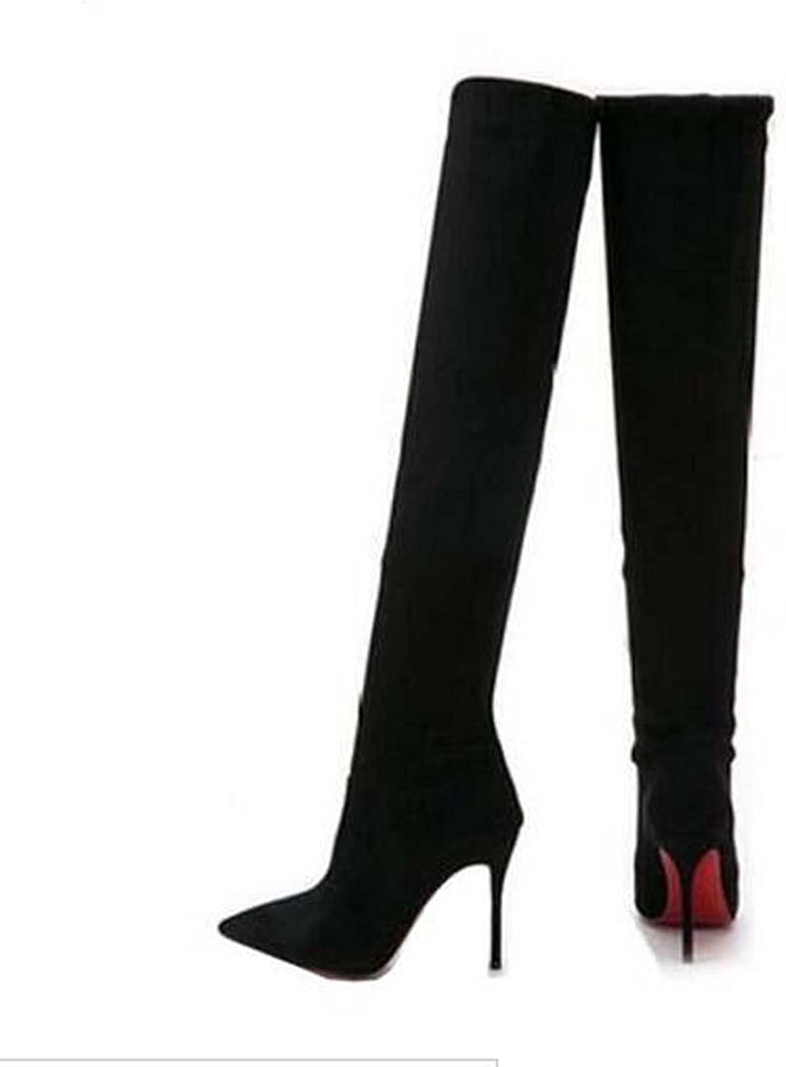 Women elasticity suede Pointy Toe Thigh High Single red Sole Stiletto Boot