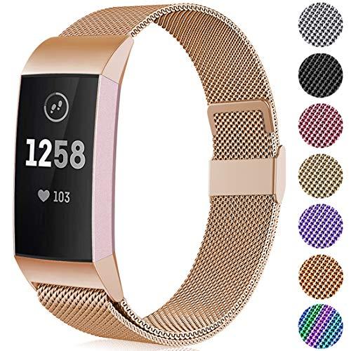 Faliogo Metall Ersatzarmband Kompatibel mit Fitbit Charge 3 Armband/Fitbit Charge 4 Armband Einstellbare Edelstahl Ersatz Armbänder für Damen Herren, Klein, Königliches Gold