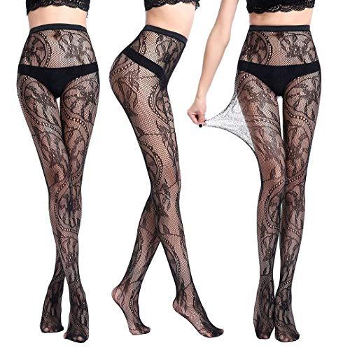 Womens Fishnet Tights Suspender Pantyhose Thigh-High Stockings Black(WK06)