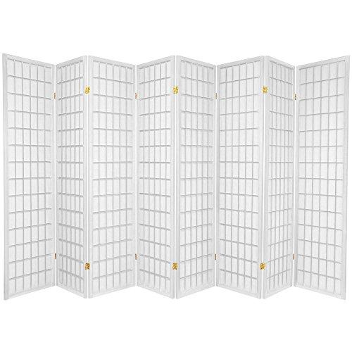 Oriental Furniture 6 ft. Tall Window Pane Shoji Screen - White - 8 Panels