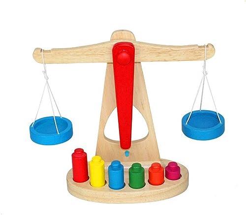 RANRANJJ Kinder Spielzeug Holzwaage mit 6 Gewichten, Pretend Play Gründlegende Lebens F gkeiten Spielzeug ideal für das Lernen der Kinder