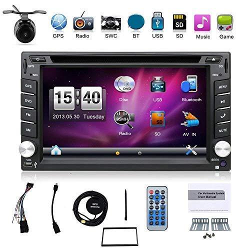 Avec caméra. GPS pour voiture Double DIN 6,2» dans le tableau de bord lecteur DVD écran...
