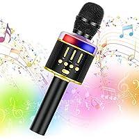 Amazmic Wireless Karaoke Microphone Machine Toy with Lights (Black Gold)