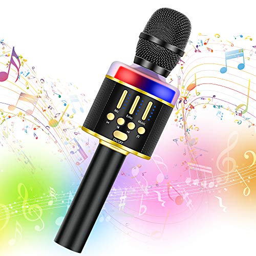 Wireless Karaoke Microphone Machine Toy- Amazmic Handheld Bluetooth Microphone for Karaoke with Lights, Best Toy for 3-12 Years Old Kids Boys/Girls/Adults Birthday Party, Home KTV(Black Gold)