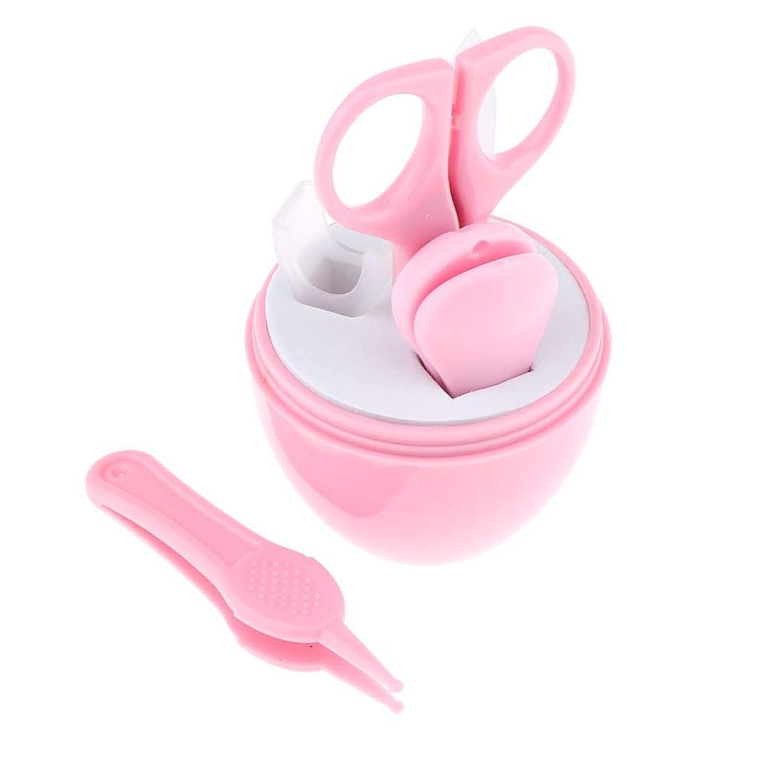 販売計画委託鉛Perfeclan 2色選択 ネイルシザー ネイルクリッパー ネイルファイルピン 爪切り 子供用ネイルケアセット - ピンク