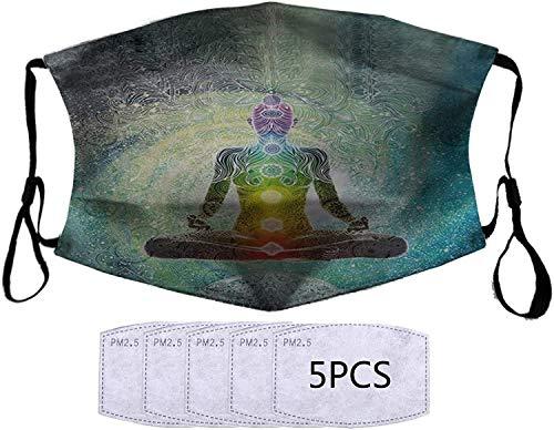 YRUI Máscara deportiva reutilizable ajustable de algodón con filtros, protección suave para mujeres, hombres, unisex, yoga, mandala, meditación zen, hippie chakra