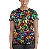 PYenff Multi Neon Paint Splatter Art Cat Summer Womens Girl 3D Printed Tee Shirt Gifts