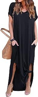 Women's Casual Pocket Beach Long Dress Short Sleeve Split Loose Maxi Dress …