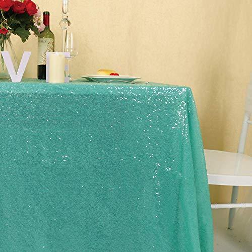 "Zdada Wedding/Home Decoration Sparkly Tablecloth Sequin Table Cover - Aqua Green 55""x108"""