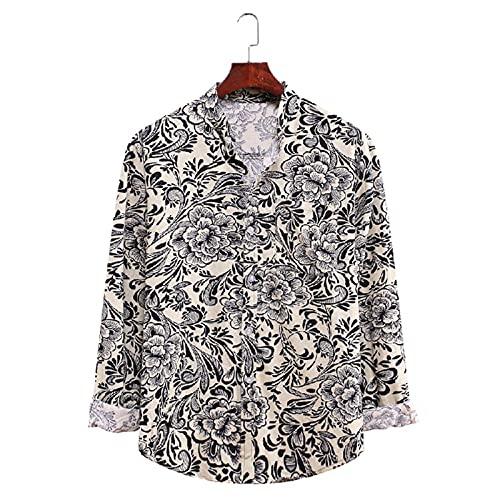 KANGYONG Camiseta de manga larga para hombre, algodón, lino, cuello alto, camisa larga, cuello en V A_gris L